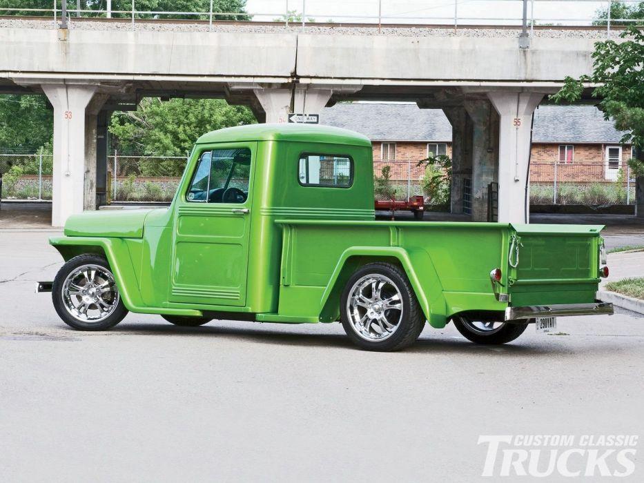 1950 Willys Jeep Pickup custom hot rod rods retro wallpaper