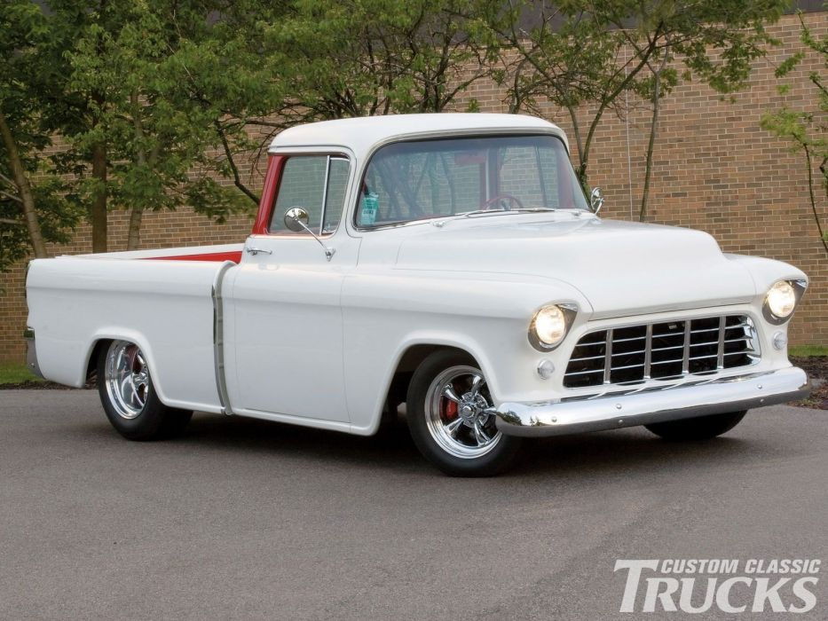1955 Chevrolet Cameo Pickup custom hot rod rods retro wallpaper