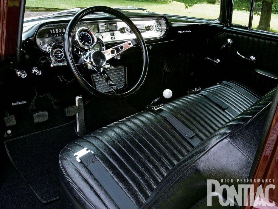 1957 Pontiac Chieftain stationwagon custom hot rod rods retro safari wallpaper