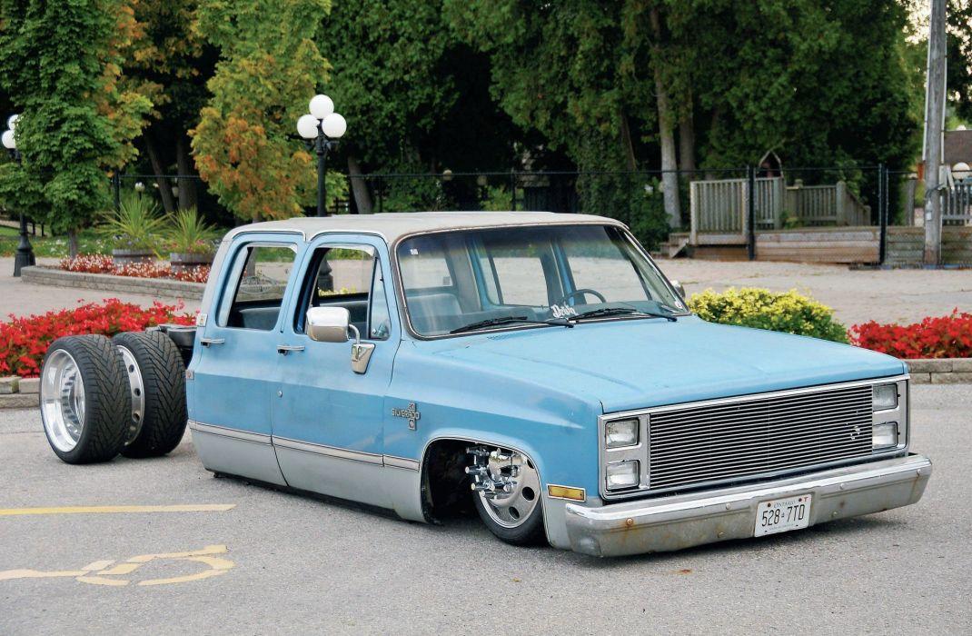 1985 Chevrolet 1-Ton Crew Cab pickup lowrider custom tuning wallpaper