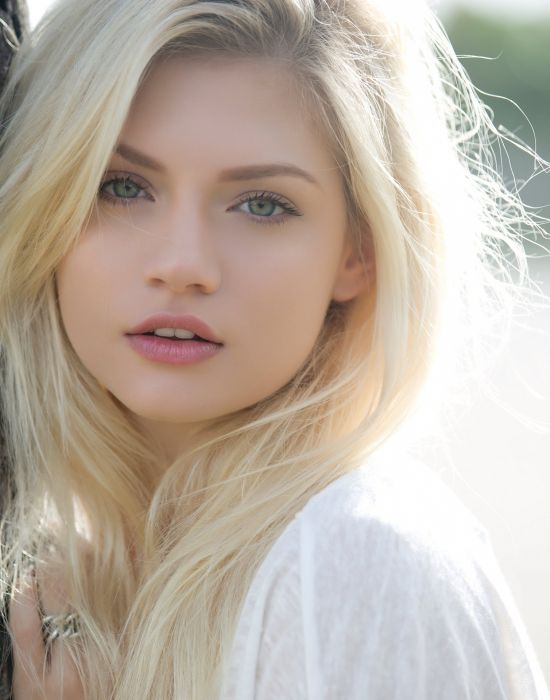Model Female Blonde Long Hair Face