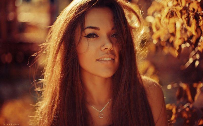 Natali Danish long hair beautiful girl brown eyes makeup female sunlight wallpaper