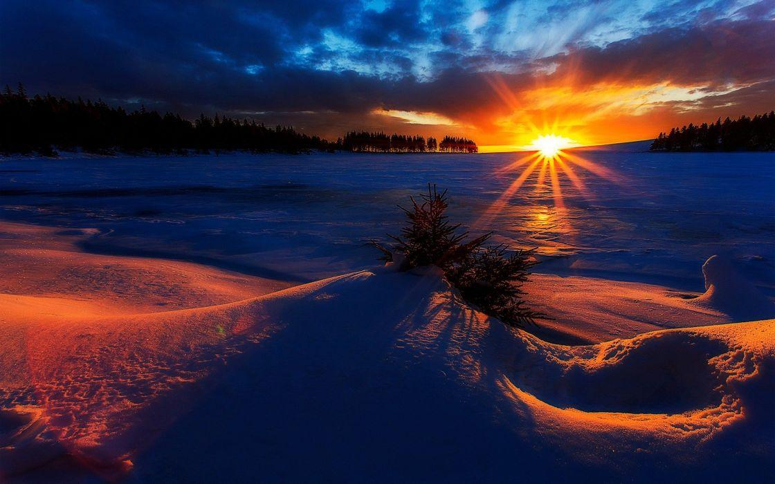 amanecer invierno sol nieve wallpaper