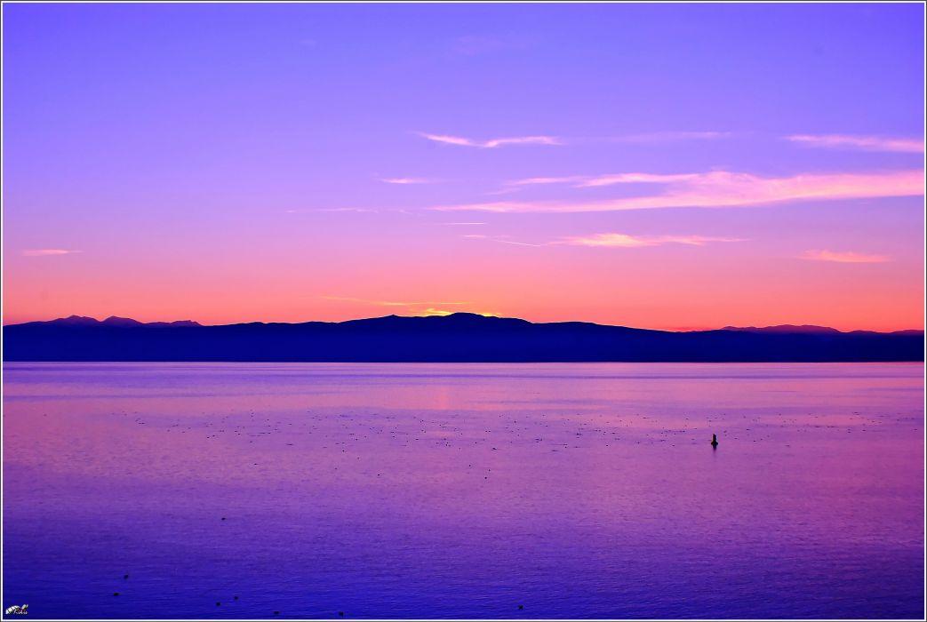 Ohrid lake sunset wallpaper