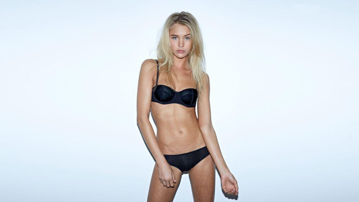 modelo rubia bikini negro wallpaper