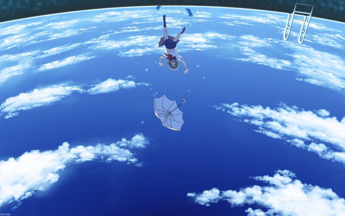 anime girl black eyes boots brown hair happy pool scenic seifuku short hair sky umbrella water wallpaper