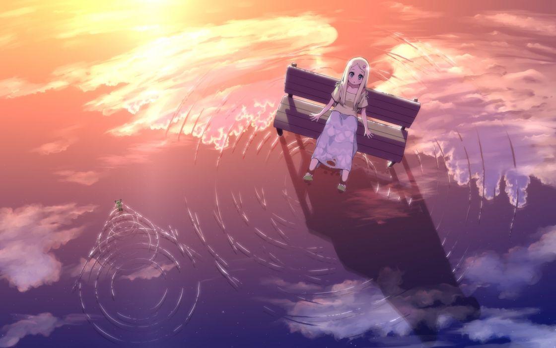 anime girl water blonde hair blue eyes blush hairpins long hair sandals skirt sunset surprised wallpaper