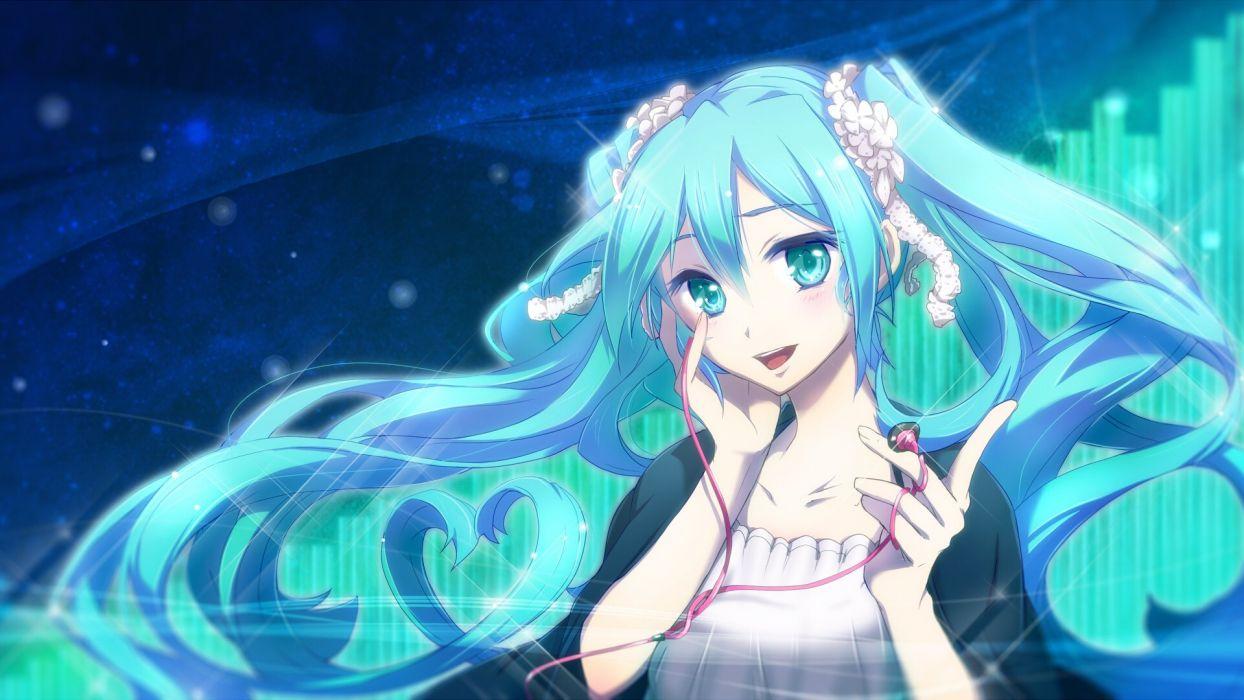 anime girl blue eyes blue hair flower happy headphones long hair twin tails Vocaloid wallpaper