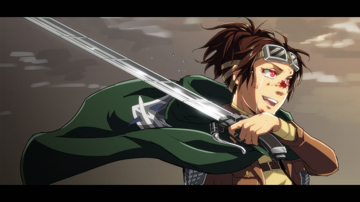 brown hair cloak crying gloves happy ponytail red eyes short hair sword Attack on Titan wallpaper