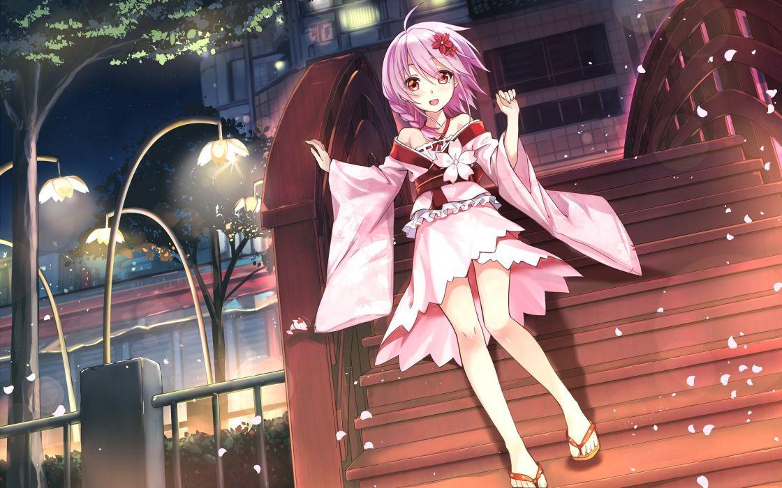 anime girl ahoge anthropomorphism braids happy night pink hair red eyes ribbon sakura sandals short hair short kimono sky stars tree wallpaper