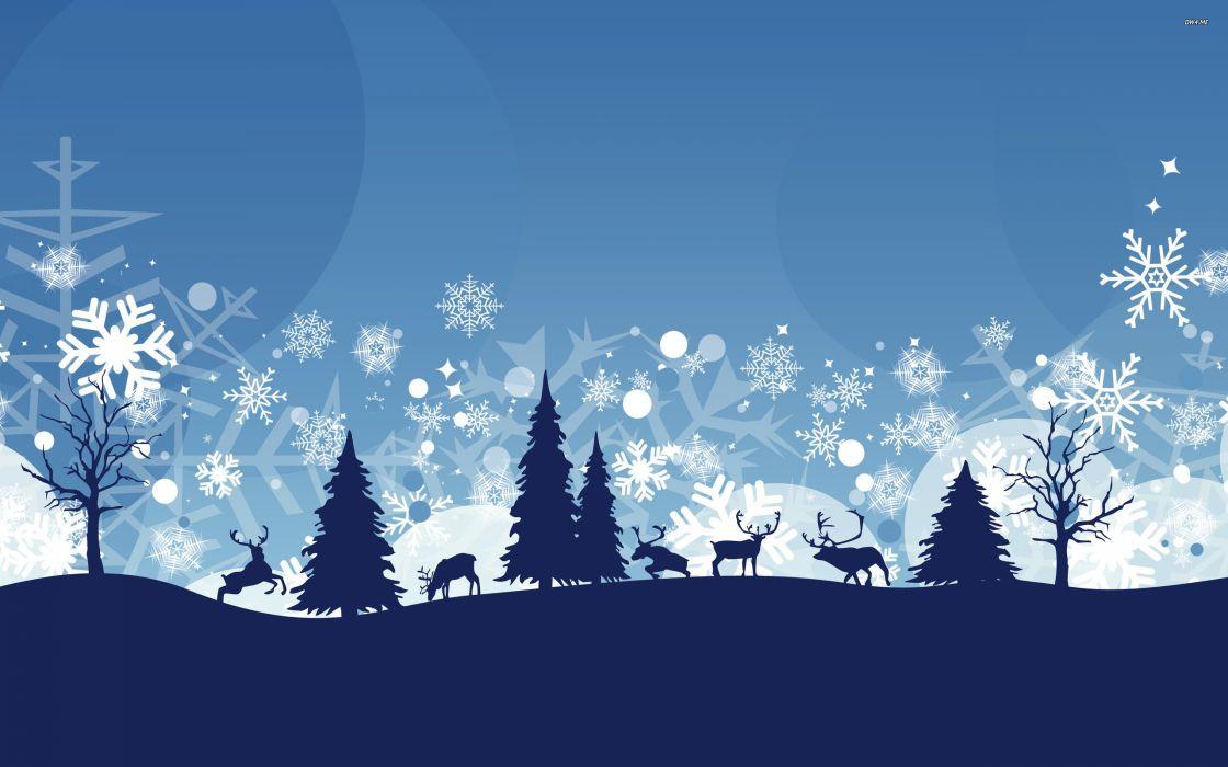 winter snow nature landscape deer vector wallpaper