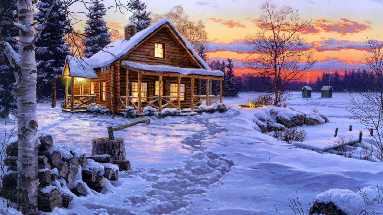 winter snow nature landscape art artwork wallpaper