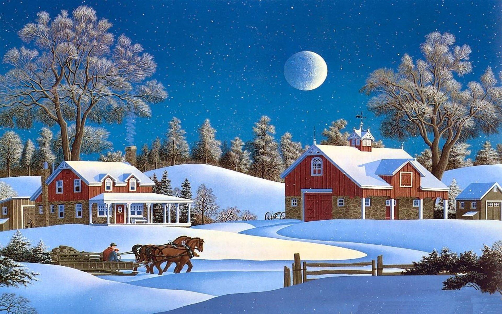 Winter snow nature landscape art artwork wallpaper 1920x1200 865944 wallpaperup - Winter farm scenes wallpaper ...