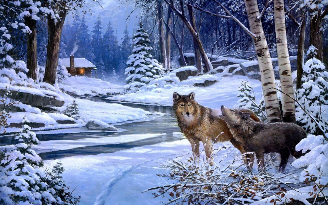 winter snow nature landscape wolf wolves art artwork wallpaper