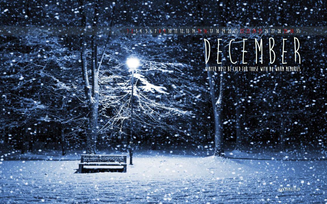 winter snow nature landscape december calendar wallpaper