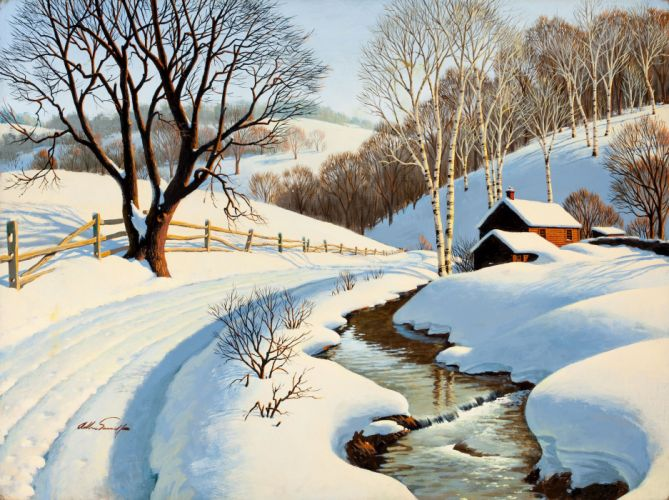 winter snow nature landscape art artwork rustic farm wallpaper