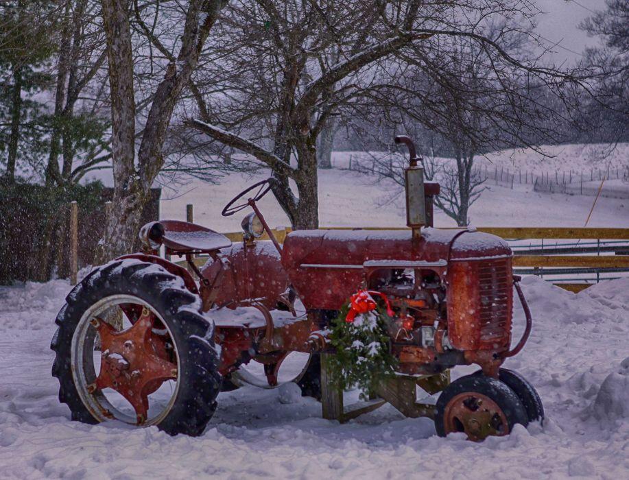 Winter Snow Nature Landscape Tractor Farm Rustic Wallpaper