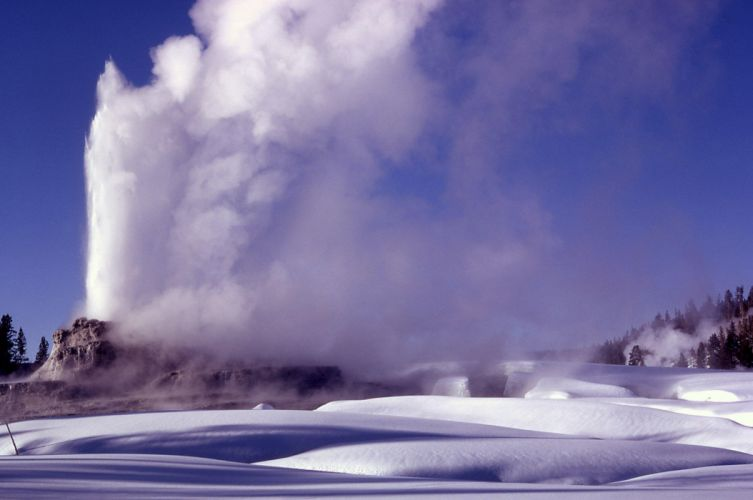 winter snow nature landscape yellowstone geyser wallpaper