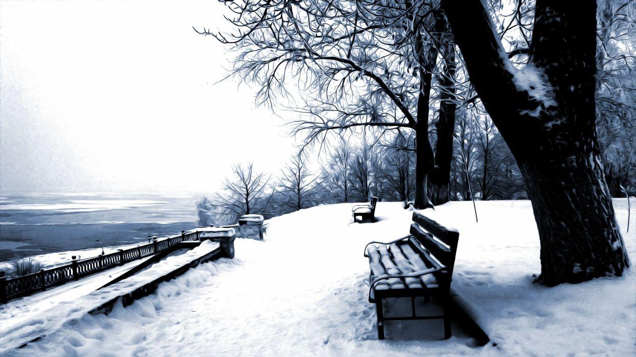 winter snow nature landscape bench wallpaper