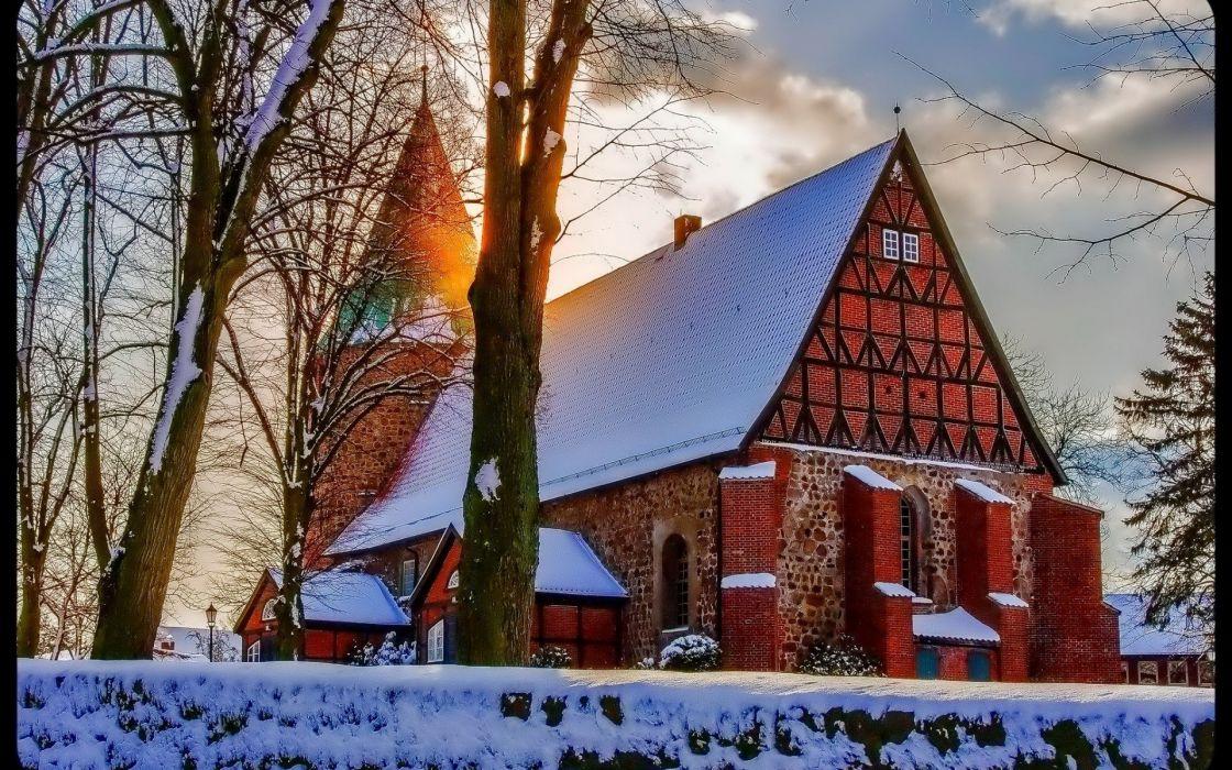 winter snow nature landscape church religion wallpaper