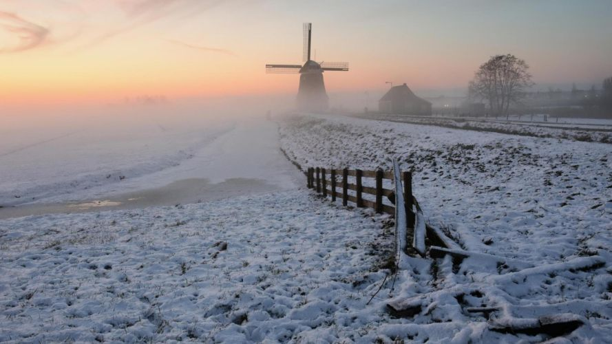 winter snow nature landscape windmill fence wallpaper