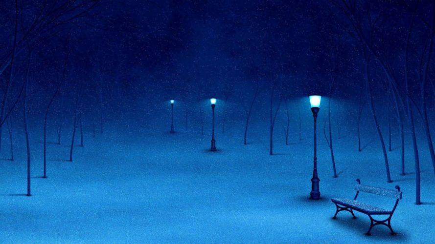 winter snow nature landscape bench mood lamp post wallpaper