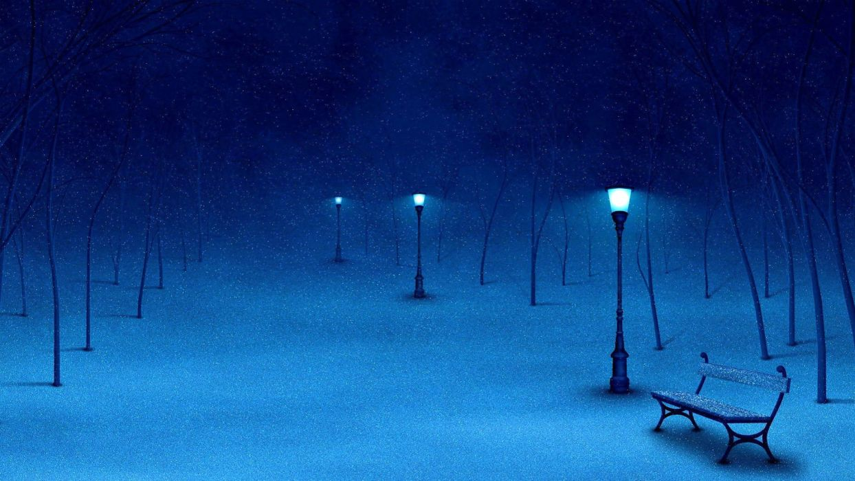 winter snow nature landscape bench mood lamp post wallpaper