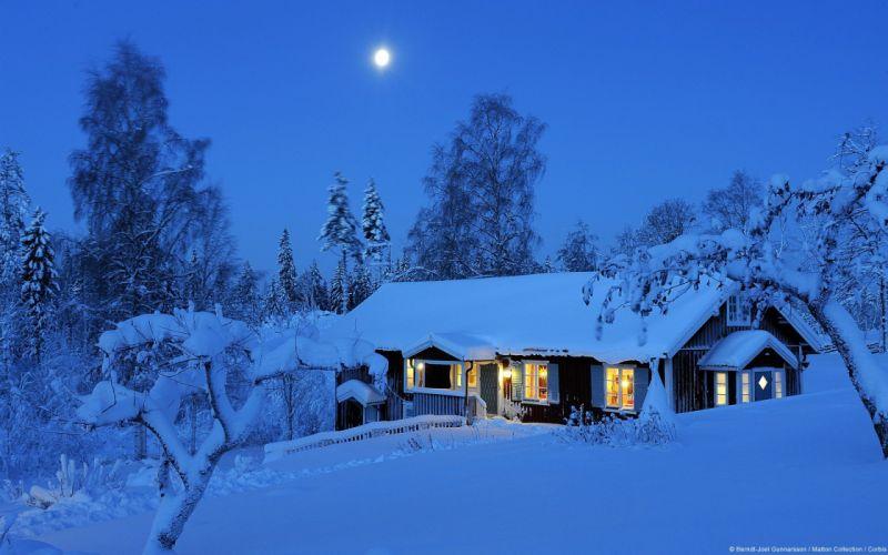winter snow nature landscape house wallpaper
