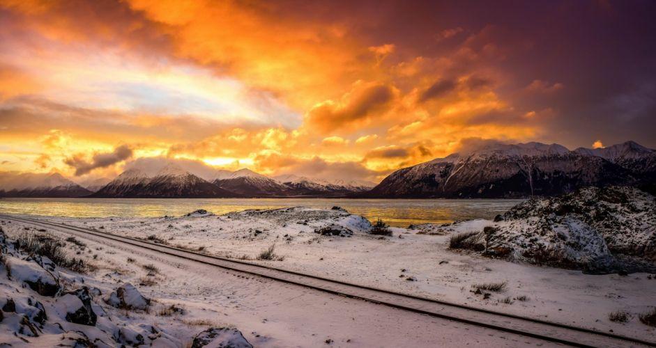 winter snow nature landscape railroad tracks train wallpaper