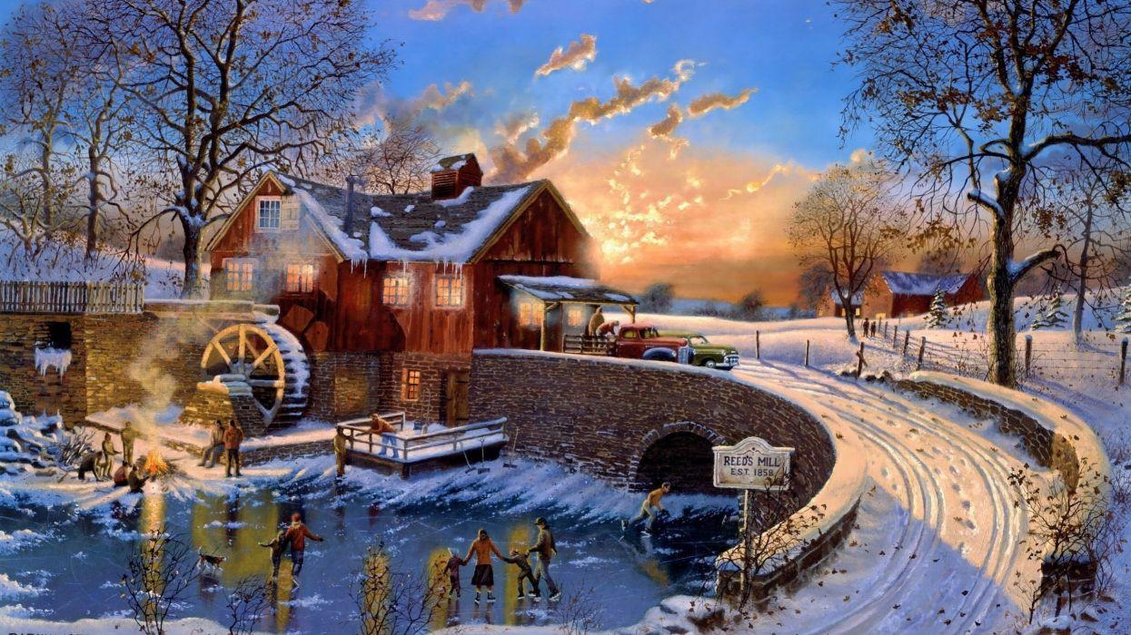 winter snow nature landscape town village city cities art artwork christmas wallpaper