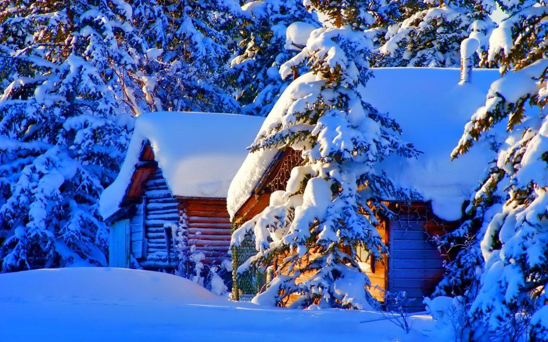 winter snow nature landscape town village city cities wallpaper