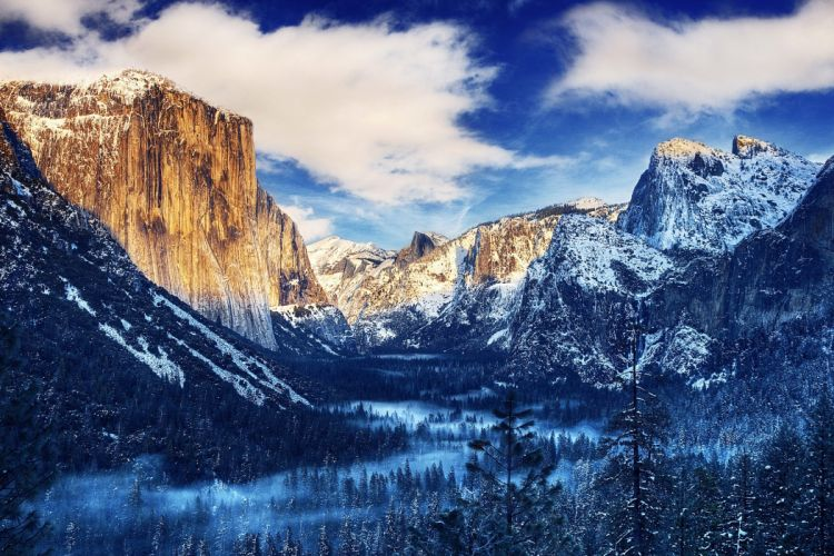 USA Yosemite National Park Yosemite National Park California Winter Snow Mountain Rock Valley Forest Trees Fog Clouds wallpaper