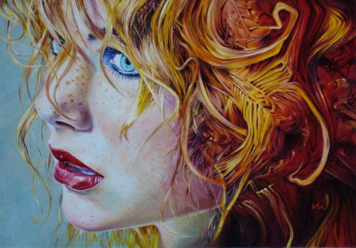 art woman red hair oil blue eyes beauty wallpaper
