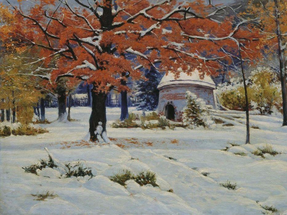 winter tree snow beauty landscape oil painting art wallpaper