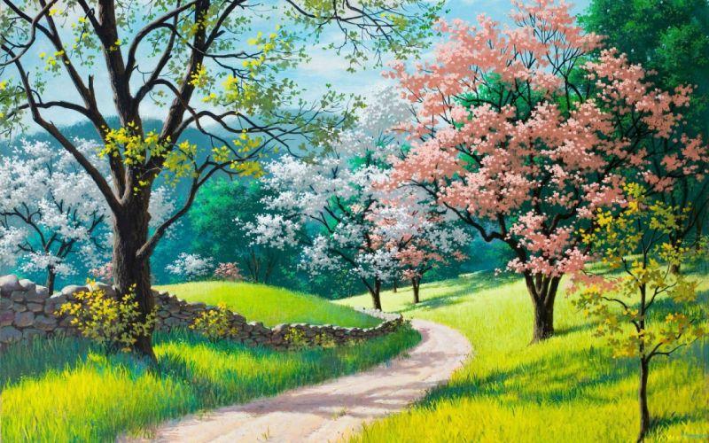 spring tree snow beauty landscape oil painting art wallpaper