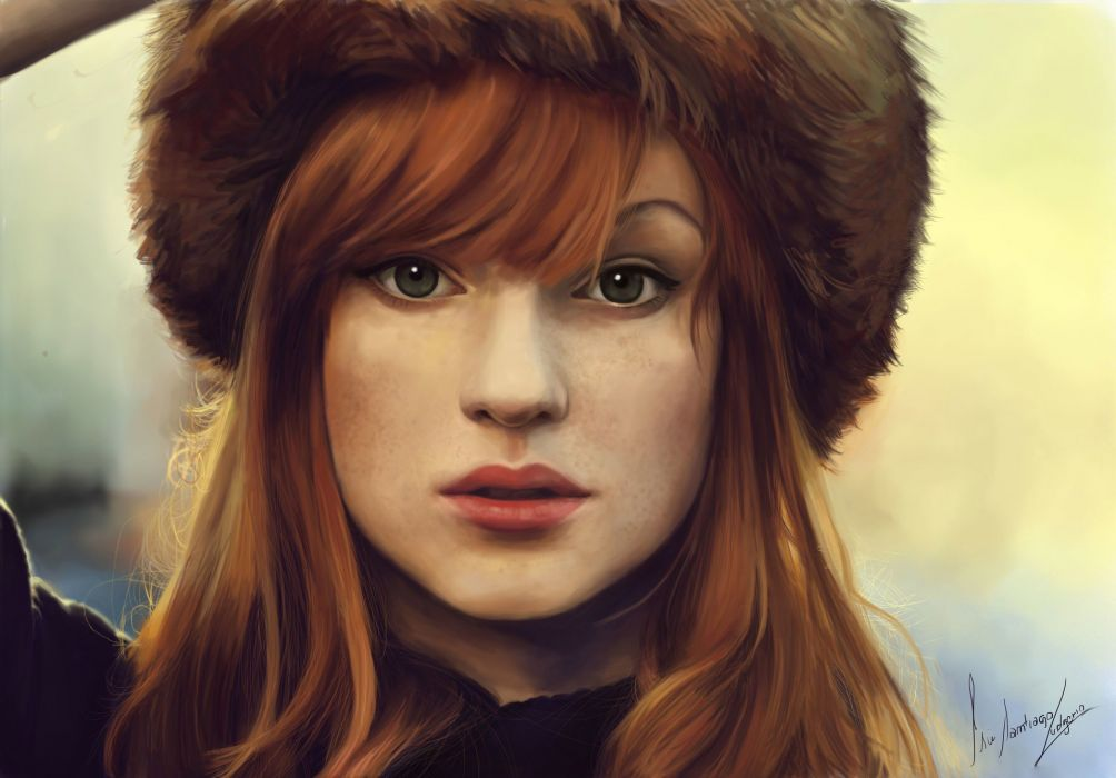 girl long hair green eyes red art oil paintings beauty wallpaper