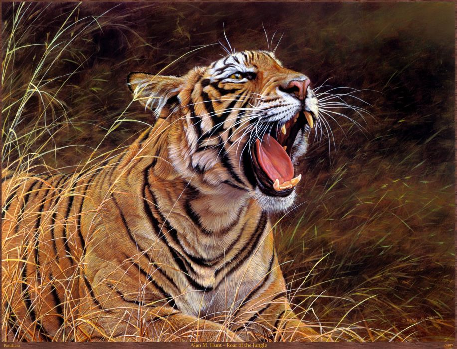 tiger art animal oil paintings beauty wallpaper