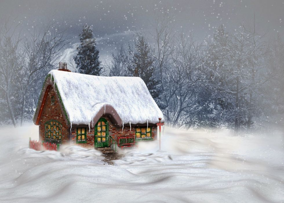 art oil paintings beauty forest winter snow house wallpaper