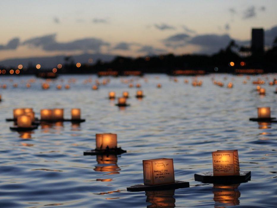 wish lights beauty nature lake wallpaper