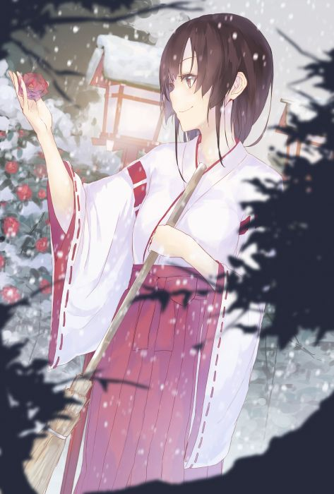 original anime girl kimono snow winter flower short hair beautiful wallpaper