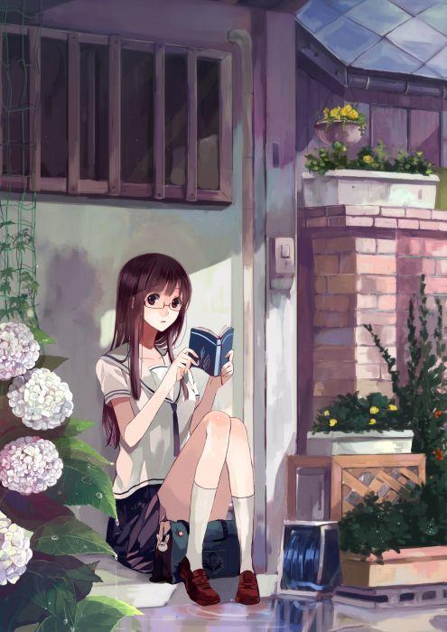 original anime girl cute flower school uniform book wallpaper
