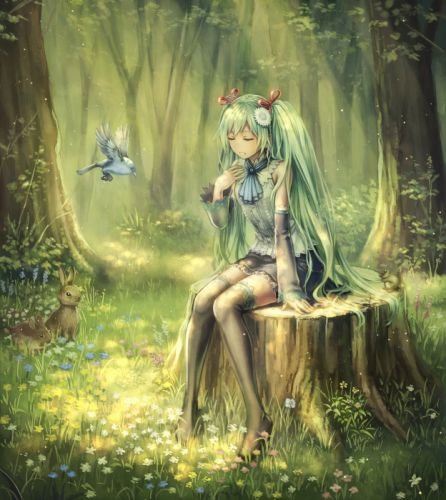 original anime girl cute flower blue bird forest long hair wallpaper