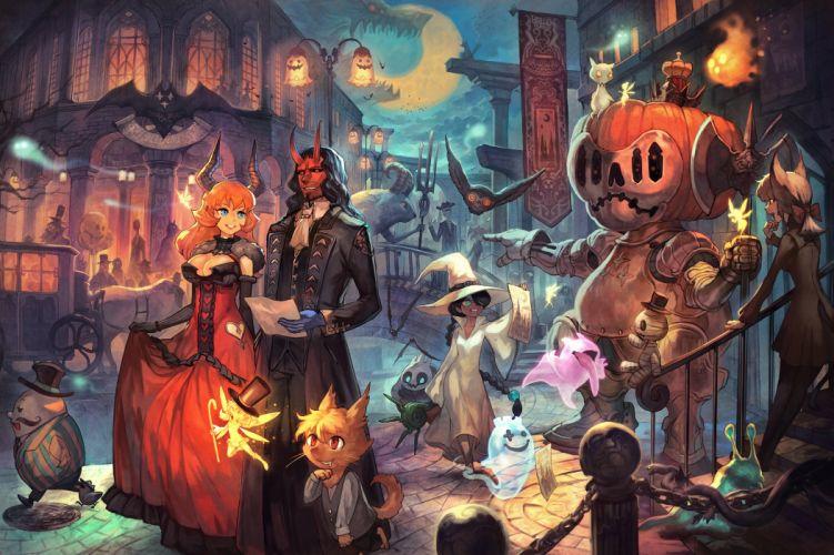 Halloween witch girl anime fairy spirit animal wallpaper