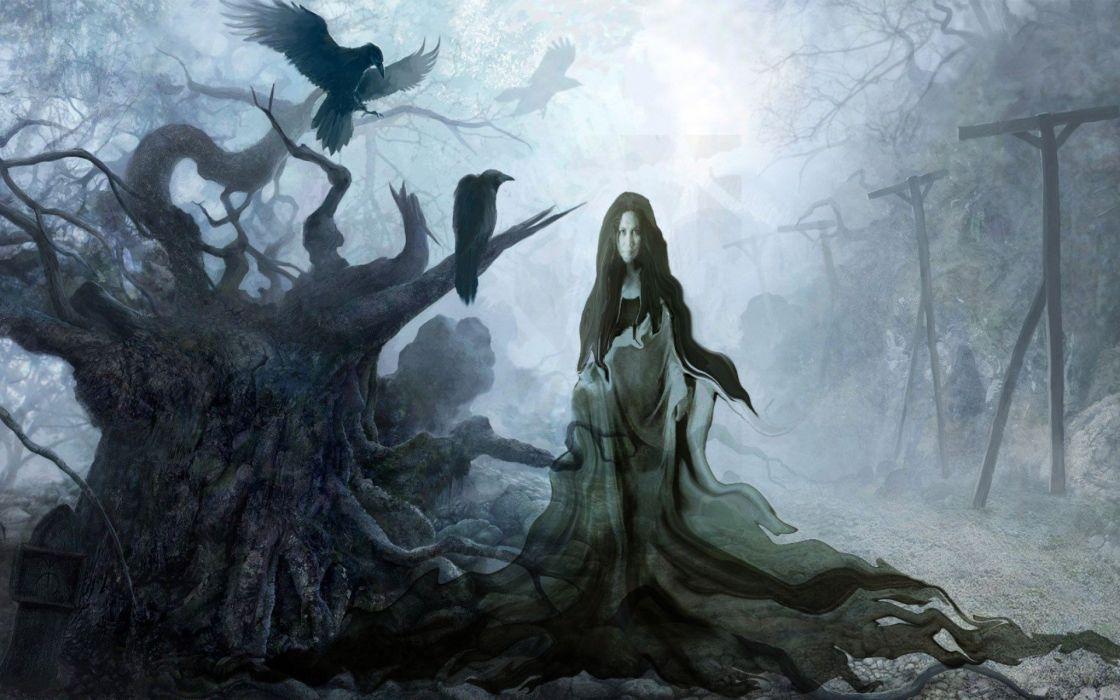 bruja cuervos bosque magia fantasia wallpaper