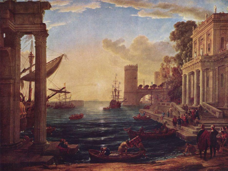 pintura oleo puerto barco arte wallpaper