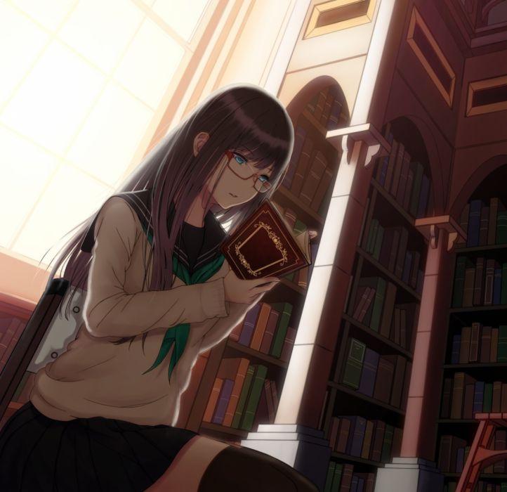Anime Girl Black Hair Blue Eyes Book Glasses Long Hair Seifuku Thigh