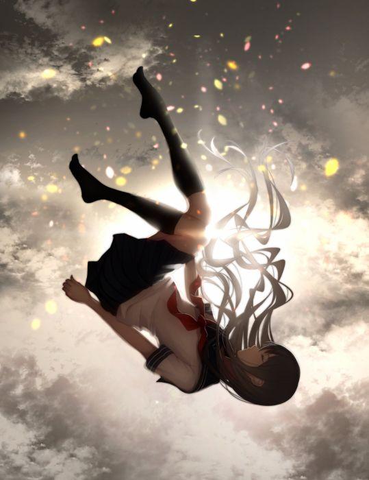 anime girl brown hair long hair seifuku sky wallpaper
