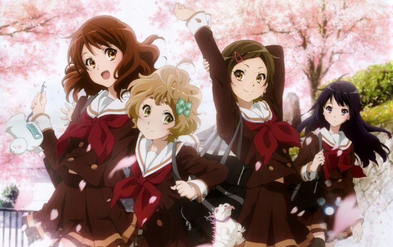 anime girl happy long hair ribbon sakura school bag seifuku short hair smile tree wallpaper