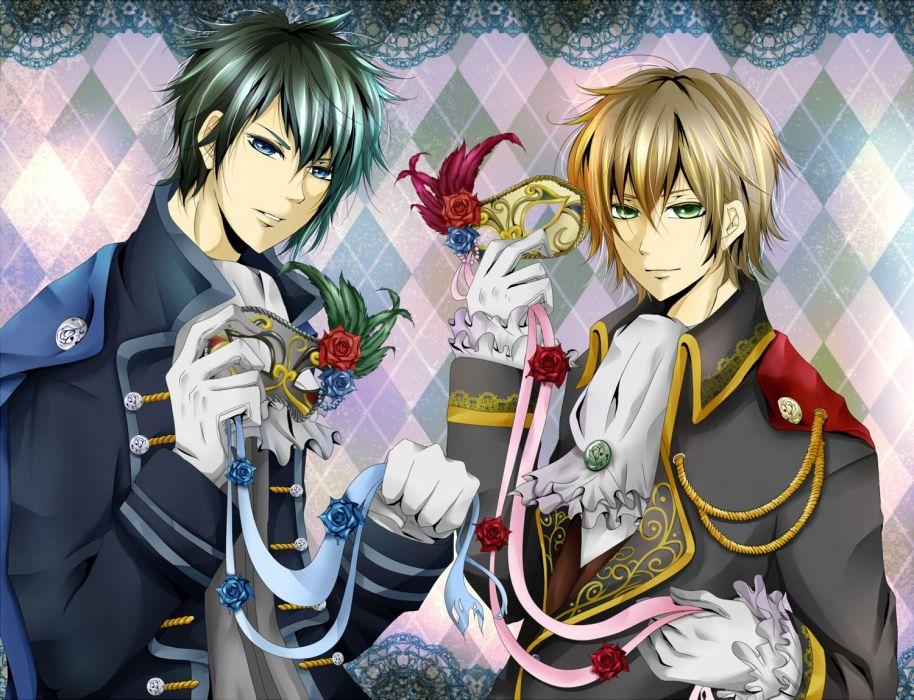 anime all male blonde hair blue eyes flowers green eyes male nico nico singer rose wallpaper