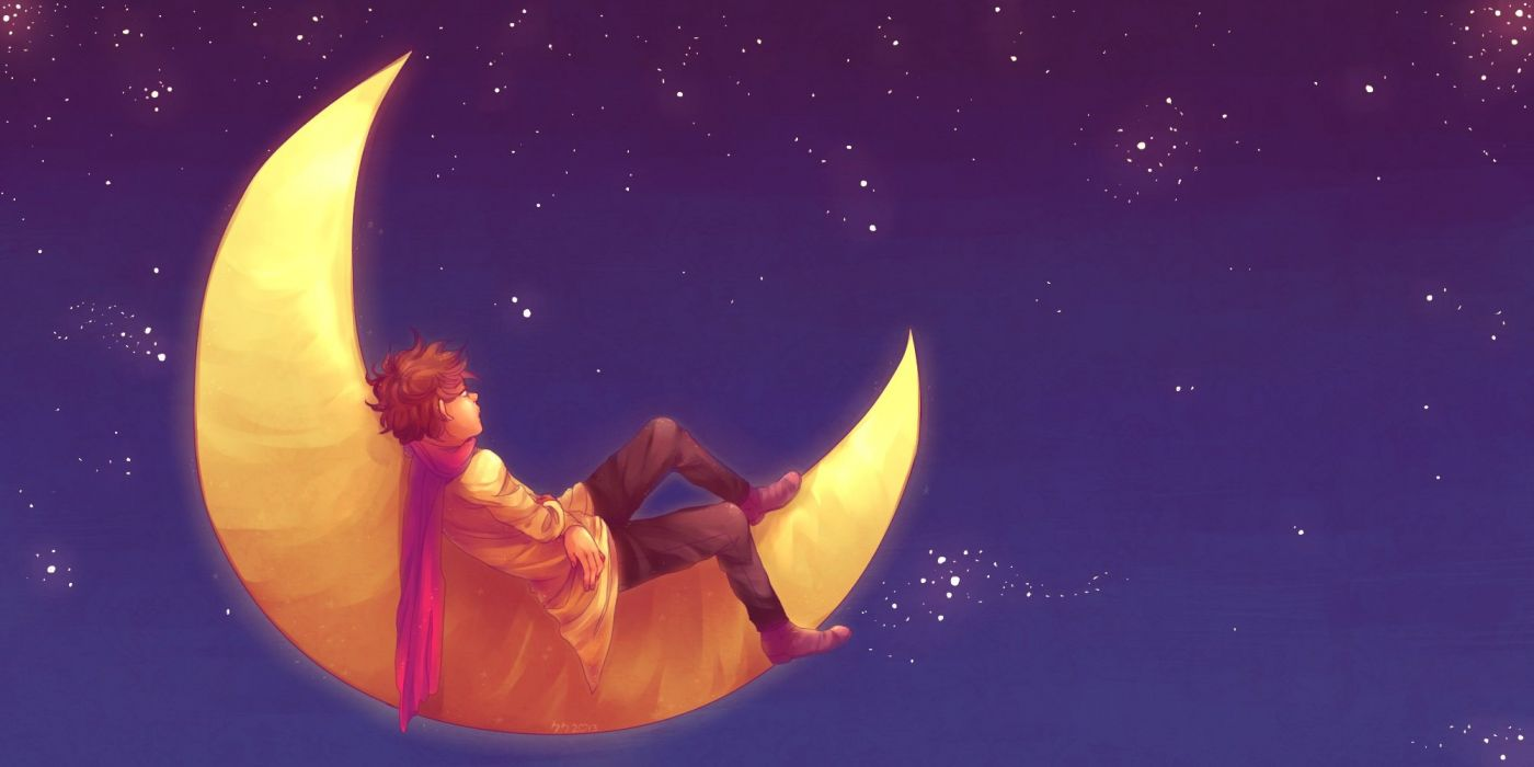 anime all male brown hair male moon night original scarf short hair signed sky stars tabashio wallpaper
